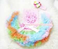 Newborn Baby Rainbow Pettiskirt Tutu Crochet Tube Top headband 3PC Set NB-3Year