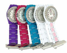 Henley Glamour Bling Aqua White Pink Purple Enamel Beauticians Nurses Fob Watch