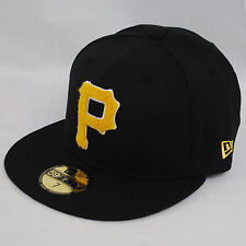 NEW ERA 59fifty PITTSBURGH PIRATES BLACK CHENILLE FITTED FLAT PEAK HAT CAP