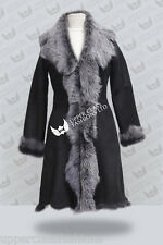 Black Brissa Ladies Women's Real Toscana Sheepskin Leather Jacket Trench Coat