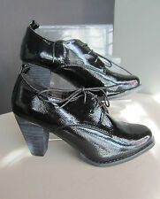"Ladies Update Black Patent Lace up Shoe Boot with Block 3"" Heel L4908"