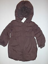 BABY GAP Girls BROWN Peplum Puffer Hooded Jacket Coat Parka 3 3T 4 4T 5 5T NWT