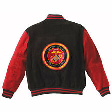 Marines USMC Baseball Style Suede Leather Varsity Jacket