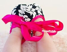 Infant Baby Toddler Girl Hot Pink Damask Crib Soft Flat Shoe with Ribbon 0-18M