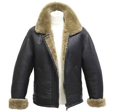 Men's Aviator B3 Ginger Real Shearling Sheepskin Leather Bomber Flying Jacket