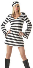 New Sexy Inmate Adult Costume Prisoner Jail Bird Outfit