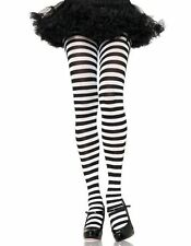 Womens Black White Striped Goth Punk Witch Tights Stockings