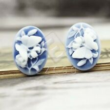 Resin Cabochons 5pcs 23.5x17mm Flatback Oval Butterfly Flower Cameo