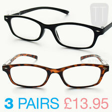 3 PAIRS NEW WAYFARER READING GLASSES - BLACK / BROWN TORTOISESHELL 1+1.50+2.5+3