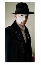 Men's Phantom of the Opera Cape BEADED Velvet Collar S to XL Cloak Black White