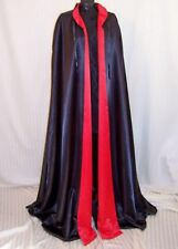 Gothic Dramatic Drag Queen Cape Black Red Cloak Men's S to XL Floor Length