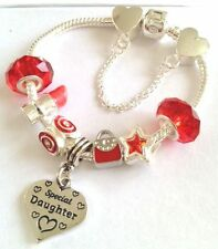 personalised girls red lipstick handbag charm bracelet in gift box FAST DELIV