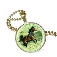 """Horse Play Green All Play on Crystal Pendant w/ 24"""" Matchng Ball Chain"""