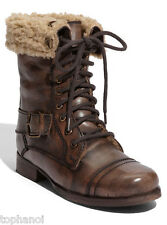 Womens Diba MISS YOU Genuine Leather Shearling Boots Brown Steampunk Great Gift