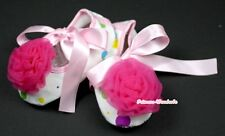 Infant Newborn Baby Girl Light Pink Rainbow Crib Shoes Hot Pink Rose 0-18Month
