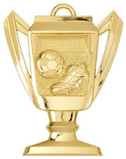 "2-3/4"" Trophy Shape Soccer Medal w/Ribbon Any Qty Ships Flat Rate $5.49 in USA"