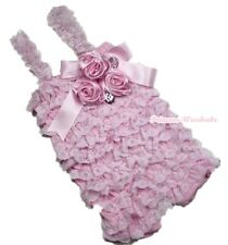 Baby Girls Light Pink  Lace Petti Posh Romper Rosettes Crystal Rompers NB-3Year