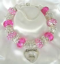 PERSONALISED LUXURY CHARM BRACELET DARK PINK & SILVER MOTHERS DAY GIFT BOX