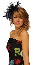 Black and Royal Blue Fascinator Wedding Hat Choose any colour satin & feathers