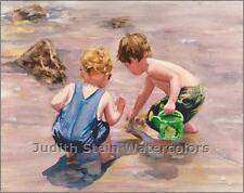 "BEACH BOYS ""Water Everywhere"" Watercolor Painting Art Print Giclee JUDITH STEIN"