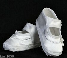 New Girls Shoes Mary Jane White Satin Bootie Christening Bow On Sole 0-8M USA