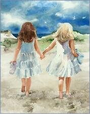"FRIENDS SISTERS ""Beach Promenade""  Watercolor Painting Art Print JUDITH STEIN"