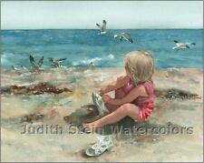 "BEACH SEASHORE GIRL & BIRDS  ""Fancy"" Watercolor Painting Art Print JUDITH STEIN"