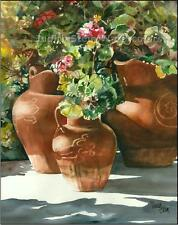 "FLOWER GARDEN ""Flowers in Clay Pots"" Watercolor Painting Art Print JUDITH STEIN"