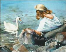 "GIRL & POND ""Feeding the Swan"" Watercolor Painting Art Print Giclee JUDITH STEIN"
