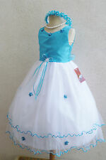 # 2 RT Turquoise Flower girl dress wedding party recital size  2 4 6 8 10 12