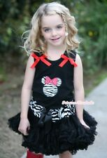 Black Zebra Waist Pettiskirt Zebra Minnie Red Bow Black Pettitop Tank Top 1-8Y