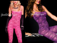 Neon PINK Bodystocking ANIMAL PRINT Zebra Tiger STRIPES Tank Style Crotchless OS