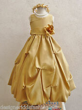 GOLD WHITE IVORY SILVER YELOW ORANGE PAGEANT FLOWER GIRL DRESS 2 4 6 8 10 12 14