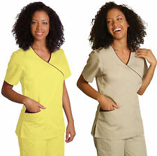 Mock Wrap with Contrast Trim Medical Nursing Scrub Top Uniform NWT 24 VARIATIONS