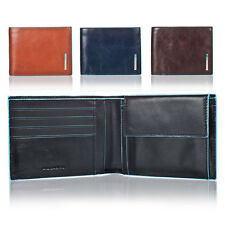 PIQUADRO BLUE SQUARE BIFOLD MAN WALLET IN GENUINE LEATHER PU257B2 BEW BEST PRICE