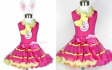 Hot Pink Yellow Rainbow Pettiskirt Bow & Easter EGG Lacing Hot Pink Top Ear 1-8Y