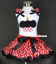 Minnie Red White Polka Dot Pettiskirt Black Birthday Cupcake White Tank Top 1-8Y