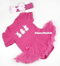 Hot Pink EASTER Rabbit EGG Jumpsuit Baby Girl Dress with Hot Pink Skirt NB-12M
