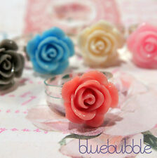 FUNKY VINTAGE CARVED 15mm ROSE RING SWEET CUTE WEDDING KITSCH GIFT FESTIVAL BOHO