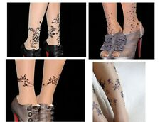 Womens new Tattoo floral crystal Sexy 15D Pantyhose Stockings Tights Leggings