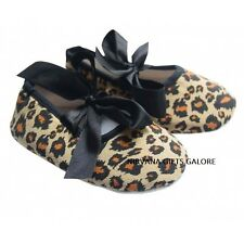 LEOPARD PRINT & BLACK RIBBON BABY CRIB SHOE SIZE GUIDE IN LISTING