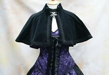 Cotton Velvet Cape Satin Lined Victorian Steampunk Goth Bridal OBSIDIAN NEW