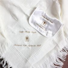 PERSONALISED CHRISTENING / BAPTISM SHAWL & BIB  CROSS IN WINDO IN WHITE OR IVORY