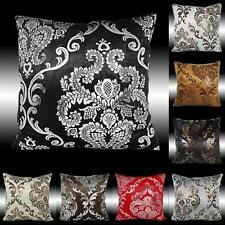 """2X LUXURY SILVER/GOLD DAMASK VELVET CUSHION COVERS THROW PILLOW CASES 17"""""""