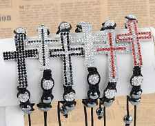 Shamballa Disco Ball Crystal Cross Hematite Beads Macrame Fashion Bracelet Gift