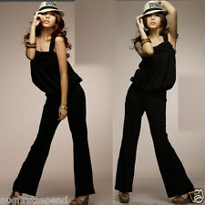 Stylish Lady Sleeveless Ribbon Overalls Rompers Jumpsuits Pants Trousers Leisure