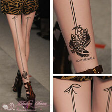 Womens sexy Lovely Pattern Tattoo 15D Pantyhose Stockings Tights Leggings 38
