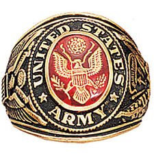 US Army Insignia Gold Engraved Ring 18K Heavy Gold Plated