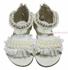 Beige Pearls Ruffles Party Casual Wedding Prom Sandals Shoe for Kid Girl 2688-38