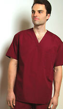 Mens Medical Nursing V-Neck Tunic Scrub Top Uniform NWT 3-Pocket 30 COLORS!